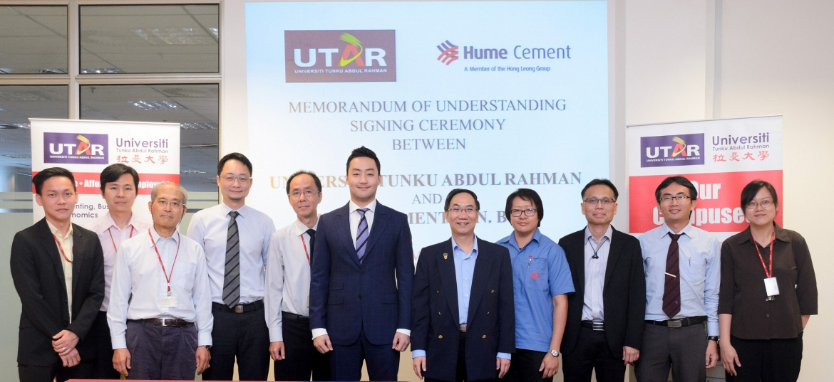 UTAR and Hume Cement Sdn Bhd officially inked a Memorandum of Understanding (MoU)